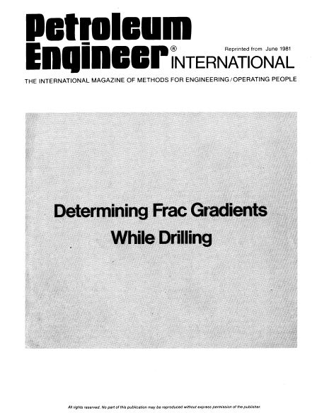 Cover of Determining frac gradients while drilling